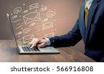 an office worker sending emails ... | Shutterstock . vector #566916808