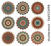 mandala shoulder tattoo.... | Shutterstock .eps vector #566923498