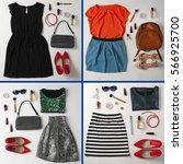 set of different looks on white ... | Shutterstock . vector #566925700