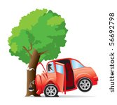 car crashed into tree   Shutterstock .eps vector #56692798