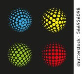 set of vector halftone spheres. ... | Shutterstock .eps vector #566936098
