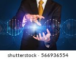 businessman with dna concept in ... | Shutterstock . vector #566936554