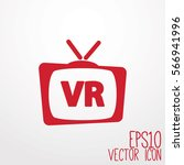 tv box icon with vr icon. flat... | Shutterstock .eps vector #566941996