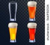 elegant beer glasses in four... | Shutterstock .eps vector #566950534