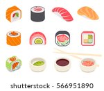 colorful sushi set of different ... | Shutterstock .eps vector #566951890