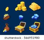 cartoon treasure elements set... | Shutterstock .eps vector #566951980