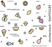 seamless pattern with food and... | Shutterstock .eps vector #566953189