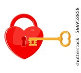heart as the key to the lock.  | Shutterstock .eps vector #566953828