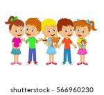 kids little boys and girls with ... | Shutterstock .eps vector #566960230