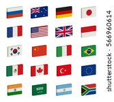 simple 3d flags icons of the... | Shutterstock . vector #566960614