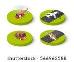 helicopter passenger plane 3d... | Shutterstock .eps vector #566962588