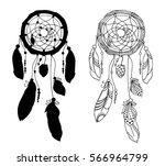 hand drawn dreamcatchers... | Shutterstock .eps vector #566964799