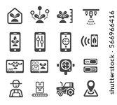 smart farm icon | Shutterstock .eps vector #566966416