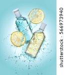 two bottles of cosmetic... | Shutterstock . vector #566973940
