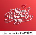 happy valentine's day text.... | Shutterstock .eps vector #566974873