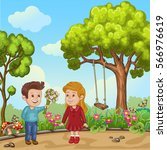cute boy gives bouquet of... | Shutterstock .eps vector #566976619