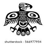 native totem bird   black and... | Shutterstock .eps vector #566977954