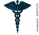 caduceus   silver metal medical ... | Shutterstock . vector #566979274