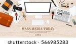 mass media background in a flat ... | Shutterstock .eps vector #566985283