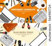 mass media background in a flat ... | Shutterstock .eps vector #566985724