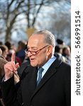 Small photo of New York, New York. - January 29, 2017: State Senator Chuck Schumer speaking at the protest march against President Trump's new immigration laws in Manhattan in 2017 in New York City.