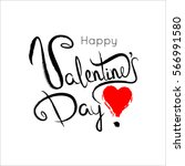 happy valentines day lettering...   Shutterstock . vector #566991580