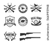 set of hunting related labels... | Shutterstock .eps vector #566995948