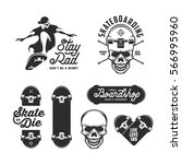 Skateboarding Labels Badges Se...
