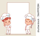 cartoon kids as little chefs.... | Shutterstock .eps vector #566999284