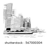 sketch of singapore business... | Shutterstock .eps vector #567000304