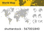 business dotted world map with... | Shutterstock .eps vector #567001840
