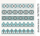 decorative border with floral... | Shutterstock .eps vector #567005173