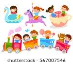 happy kids having fun on... | Shutterstock .eps vector #567007546