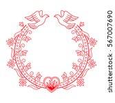 valentine floral round frame... | Shutterstock .eps vector #567007690