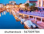 viareggio  tuscany. boats along ... | Shutterstock . vector #567009784
