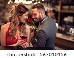 man give rose to girlfriend in... | Shutterstock . vector #567010156