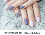 serenity manicure with diamonds.... | Shutterstock . vector #567013339