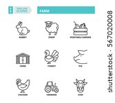 flat symbols about farm. thin... | Shutterstock .eps vector #567020008