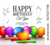happy birthday greeting card.... | Shutterstock .eps vector #567027748
