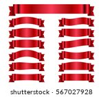 red ribbons set. satin blank... | Shutterstock .eps vector #567027928