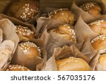 bread with sesame seeds in a... | Shutterstock . vector #567035176