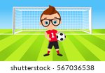young boy. kid playing football.... | Shutterstock .eps vector #567036538