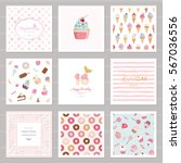 cute card templates set for... | Shutterstock .eps vector #567036556