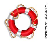 lifebuoy  red  isolated  vector ... | Shutterstock .eps vector #567039424