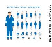 vector set of men in protective ... | Shutterstock .eps vector #567043186