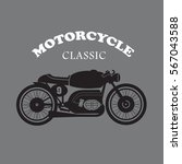 vintage motorcycle hand drawn... | Shutterstock .eps vector #567043588