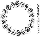 black and white round frame... | Shutterstock . vector #567044308