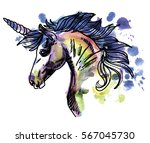 unicorn. drawing by hand in...
