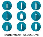 syringe and vials flat icons... | Shutterstock .eps vector #567053098
