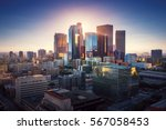 Stock photo sunset over los angeles downtown retro colors california theme la background los angeles city 567058453